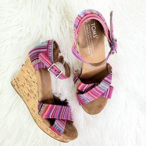TOMS // Sienna Cork Wedge Sandals Pink Size 6